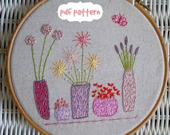 Beautiful flowers embroidery pattern PDF