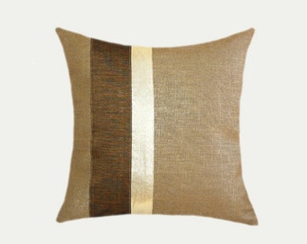 "Decorative Pillow case, Linen fabric with Brown Gold accent, fits size 18"" x 18"" insert, Toss pillow case, Cushion case."