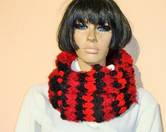 hand knitted cowl, black red wine cowl, cowl with beads, red black scarf, hand knitted scarf