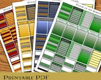 Magic School SET of 4 Houses Printable EC Planner Stickers