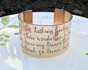 Edgar Allan Poe Cuff Bracelet, The Raven Poem Jewellery, Literary Quote Cuff, Wide Bronze Cuff Bracelet, 8th Wedding Anniversary Gift.