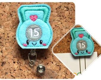 Kettlebell Badge Reel, Paper Clip, Exercise Id Card Holder, Retractable Felt Badge Holder, Pin, Lanyard, Badge Pull, Gift for Planner, 1355