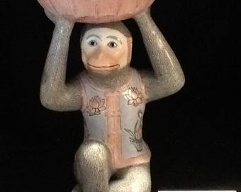 CHINESE PORCELAIN STATUE bowl dish monkey