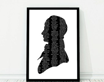 Large Mr. Darcy Silhouette Print Pride And Prejudice Black and White Jane Austen