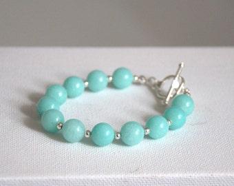 Aquamarine bracelet silver plated Valentine gift for her Gemstone stone blue bracelet bangle Round Beads beaded earrings jewelry jewellery