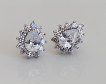 SALE - Sterling Silver Cubic Zirconia Cluster Stud Earrings - Perfect for Brides!