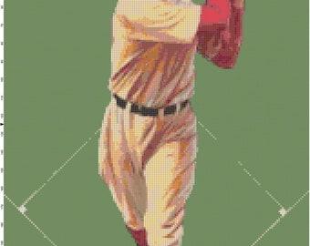 Vintage Baseball Cross Stitch Pattern PDF