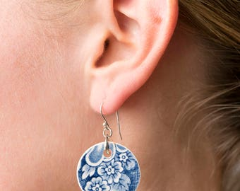 Porcelain China Blue-and-White Earrings,  Flower image, sterling silver wire