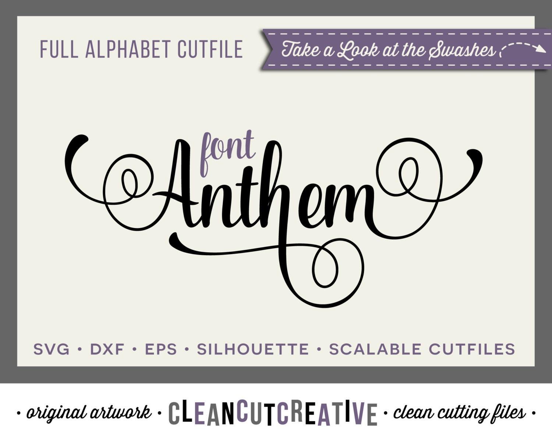 Download Full Alphabet SVG Fonts Cutfile Fancy Script cricut font