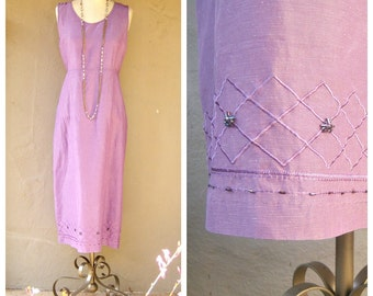 90s linen dress / SILK + LINEN beaded, lavender garden dress / long linenmaxi sleeveless sheath dress / medium large 10