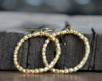 Large gold hoop earrings, thick gold hoops, gold beaded hoops, drop hoop earrings, bridal hoop earring, dangle hoop earrings statement hoops