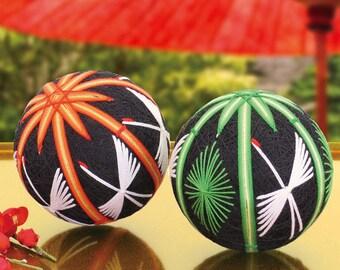Olympus TM12 Temari Kit Crane and Bamboo 2 Balls - Traditional Japanese Temari