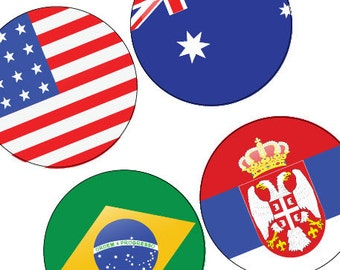 Flags Of The World Cup - Soccer - Football - Digital Collage -One (1x1) Inch (25mm) Round Pendant Images -Buy 2 Get 1 Free -Bottle Cap Image