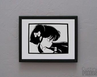 Shampoo Ranma 1/2  Hand cut paper art black silhouette paper cutting