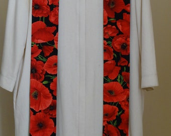 Clergy Stole:  Red Poppies