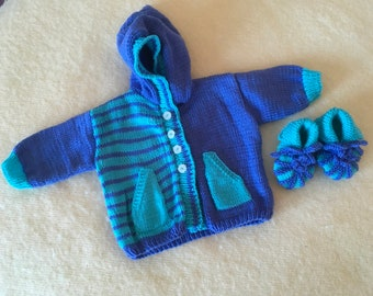 Baby, jacket with cap as a set with Babybooties