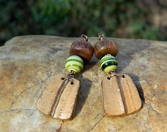 Green and Yellow Lampwork Bead Earrings