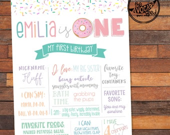 Donut First Birthday -  Birthday Stats Milestone Art - Digital File for you to DIY Print