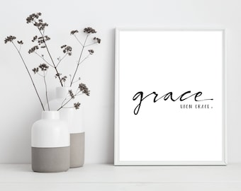 Grace Upon Grace Wall Art, Printable Grace Upon Grace Art, Ready to Frame, Printable Art, Type Poster, Home Decor, INSTANT DOWNLOAD, Print