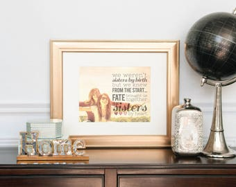 Sisters By Heart, Unique Gift for Friend, Best Friend Birthday Gift, Custom Photo Art // Choose Art Print or Canvas // H-Q18-1PS ZZ1
