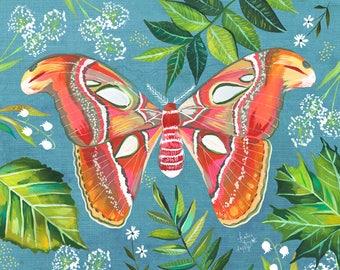 Moth | Watercolor & Acrylic Art Print | Katie Daisy | 8x10 | 11x14