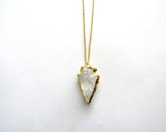 Crystal Quartz Arrowhead Necklace, Crystal Gold Necklace, Long Bohemian Necklace, Layering Necklace