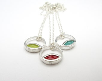 Silver and Enamel Necklace in Three Color Options - Mid-century Style - New-century Modern
