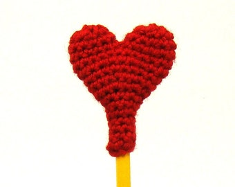 Heart Crochet Pattern - Valentines Day Pencil Topper - Eraser Cover - Teacher Gift - Diy Valentines Day - Holiday gift