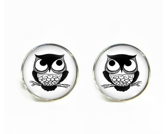 Owl small post stud earrings Stainless steel hypoallergenic 12mm Gifts for her