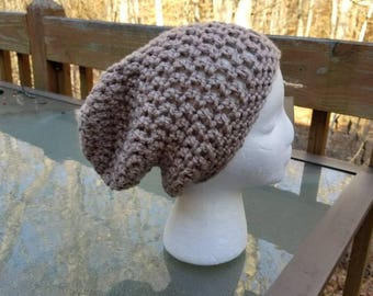 Chunky Slouchy Beanie in Taupe - Ready to Ship