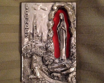 French Vintage Souvenir Metal Plaque from Lourdes