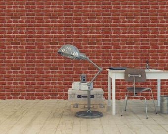 Faux Red Brick Wall Mural/ Exposed Brick/ Removable PVC Sticker/ Temporary Decal Housewarming Gift/ Statement Wall/ Contemporary Home Decor