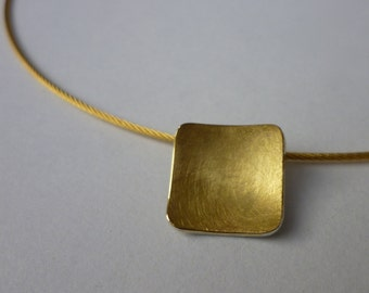 Trailer (14mm) concave round square of 900 gold and silver