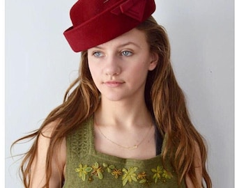 Vintage 1940s Pill Box Hat, 1940s Hat, Pill Box Hat, Red 1940s Hat, Red Hat, Ladies Hat, Vintage Hat