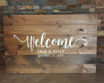 Welcome Wooden Rustic Wedding Entrance Decor Sign