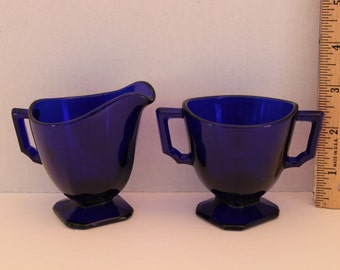 Vintage 1930's Rare Cobalt Blue Creamer and  Sugar