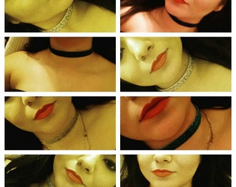 Sparkly chokers, sparkly elastic chokers, colored chokers, chokers, shiney chokers
