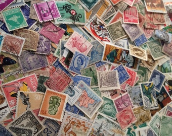 Vintage Worldwide Off Paper Used Postage Stamps, Vintage Ephemera Stamps, Philatelic, 100 Piece Lot Postage Stamps, Foreign Postage Stamps