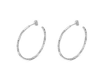 Open Hoop Silver Black Earrings, Hoop Silver Earrings, Large Hoop Earring, 925 Sterling Silver Earrings, Handmade Hoop Earrings
