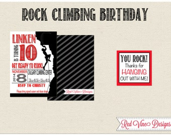 Rock Climbing Invitation and Thank you Tag