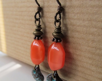 Orange with Seashell Beaded Niobium Earrings - Beach Sunset