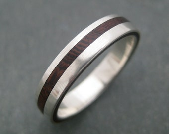 Equinox Nacascolo Wood Ring with Recycled Silver - ecofriendly wedding band, wood wedding ring, women's wood ring, wooden wedding ring,