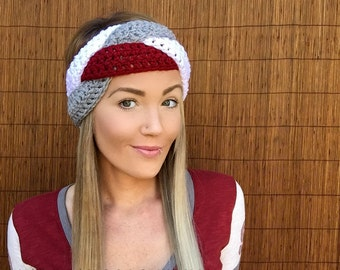 Washington State Cougars WSU White Grey Red Braid Head Hair Wazzu Cougs Accessory Band Grey Earwarmer Fall Headband Fashion Football Unisex