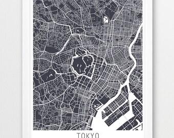 Tokyo City Urban Map Poster, Tokyo Street Map Print, Grey Tokyo Japan Print, Modern Wall Art, Travel Poster Home Office Decor, Printable Art