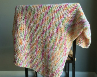 Sale / knit baby blanket / ready to ship / baby blanket knit / boho baby / baby girl blanket / baby shower gift /  gift / handmade gift /