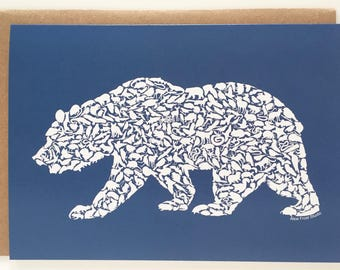 Grizzly Bear California Animals Recycled Art Card