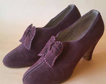 Rare 1930s 1940s WW2 Bally Shoes Aubergine Size 7 M