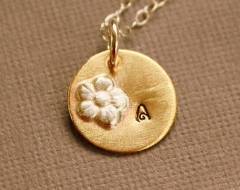 Personalized Initial Disc Necklace flower sterling silver chain brass charm pendant