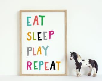 Eat Sleep Play Repeat Print, Nursery Art, Printable Wall Art Nursery printable, kids decor, digital wall decor, Eat, Play, Sleep, Repeat