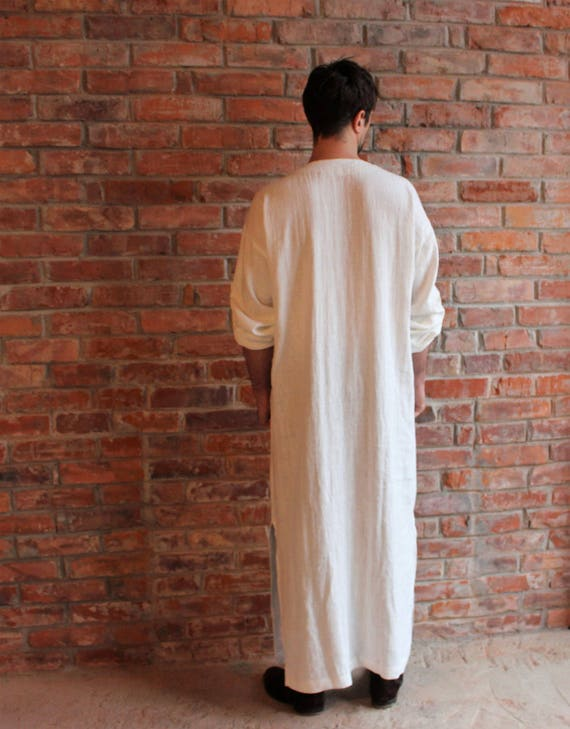 Kaftan Loungewear ship wear Large Linen Homewear Long Beach White Robe shirt Kaftan Linen Linen Ready Mens to dSIgda